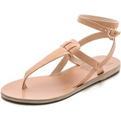 Ancient Greek Sandals Estia Thong Sandals ($225) ❤ liked on Polyvore featuring shoes, sandals, flat sandal, sapatos, natural, t strap thong sandals, leather sandals, ankle strap sandals, flat shoes and ankle wrap sandals