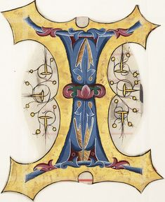 Digital Collections: Decorated initial I Beautiful Calligraphy, Calligraphy Art, Caligraphy, Illuminated Letters, Illuminated Manuscript, Abc Letra, Medieval, Illumination Art, Letter I
