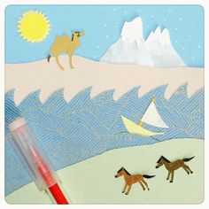 #馬 #horse #ラクダ#Camel #海 #Sea #船 #Ship #SUN #雪山 #mountain #小学館 #児童書 #挿絵 #Childrenbook #illustration #切り絵 #きりえ #紙 #papercutouts  #papercutting #collage  #illustagram #paper #art #artwork #ohnobojuco #paperart  #color
