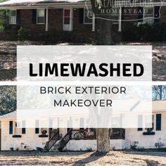 Red brick house before and after photos using limewash paint Brick Exterior Makeover, Red Bricks, Farmhouse Decor, Paint, Photos, Picture Wall, Pictures, Paintings, Draw