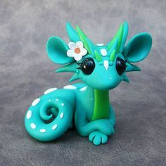 Turquois Flower Dragon by DragonsAndBeasties on Etsy