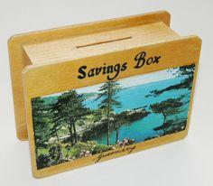 Vtg c1960s Guernsey plywood savings money box, coastal scene, original stopper