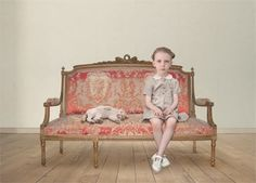 Loretta Lux.....interior with #cat and #child and #seatee