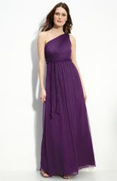 Amsale purple one shoulder bridesmaids dress from nordstrom