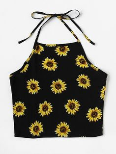 Shop Halter Neck Chrysanthemum Print Random Top at ROMWE, discover more fashion styles online. Cute Summer Outfits, Cute Casual Outfits, Pretty Outfits, Teen Fashion Outfits, Outfits For Teens, Jugend Mode Outfits, Diy Vetement, Crop Top Outfits, Cute Crop Tops