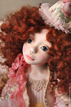 Купить Вивьен - бледно-розовый, рыжий, кукла ручной работы, кукла, кукла в подарок
