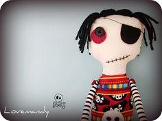 Handmade Zombie Pirate Plush Doll by Lovemandy