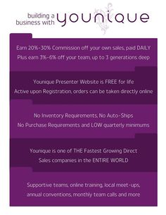 Ask me for more info or check out http://www.youniqueproducts.com/FionaCullerton/business/presenterinfo