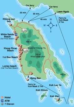 Mapa de Ko Chang, la isla elefante. Tailandia