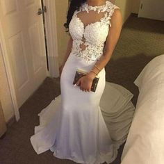 Lovely White Mermaid Spandex Long Prom Dress with Lace Applique, Mermaid Prom Gowns, White Prom Dresses