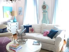 Bright, happy country living room with fresh colors. The House | My Old Country House