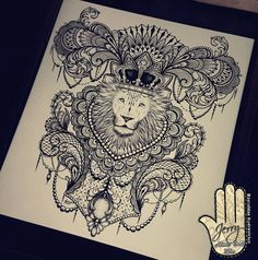 Beautiful lion mandala tattoo ideas drawing by Dzeraldas Jerry Kudrevicius @atlantic_coast_tattoo Coming soon! #design #lion #drawing #artwork #art #tshirt #mandala lace tattoo idea