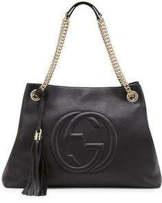 Gucci Soho Leather Medium Chain-Strap Tote, Black on shopstyle.com