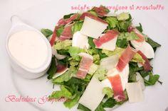 Salata cu provolone si prosciutto Prosciutto, Mozzarella, My Recipes, Feta, Cheese, Salads