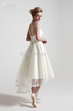 Buy cheap Cap Sleeves Satin Tulle Sash Tea-Length Bonnie M3 So Sassi Wedding Gowns Bridal Dresses with $184.8-190.4/Piece DHgate