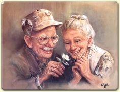 Personnes agées Love In Bloom by Dianne Dengel Vieux Couples, Serge Reggiani, Mosaic Kits, Grow Old With Me, Older Couples, Growing Old Together, True Love, My Love, Old Folks