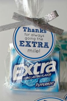 "DIY Gift Idea with FREE printable gift tags - ""Thanks for always going the EXTRA mile!"" Makes a great teacher appreciation gift. DIY Gift Idea with FREE printable gift tags - Thanks for always going the EXTRA mile! Makes a great teacher appreciation gift. Employee Appreciation Gifts, Employee Gifts, Teacher Appreciation Week, Pastor Appreciation Ideas, Employee Thank You, Gifts For Employees, Appreciation Images, Bus Driver Appreciation, Incentives For Employees"