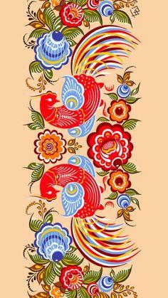Folk Gorodets Painting from Russia. A floral pattern with two birds. Polish Folk Art, Russian Folk Art, Scandinavian Folk Art, Russian Painting, Truck Art, Arte Popular, Tole Painting, Bird Art, Pattern Art