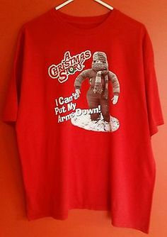"A Christmas Story ""I Can't Put My Arms Down"" Men's Cotton T-Shirt Size 2XL"