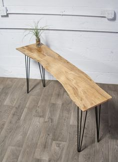 Reclaimed Black Walnut Entry Table/Console Table/Side Table Leg Type: Black Steel Hairpins Any of our consoles can make a great bench with a simple