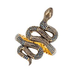 SAZINGG Snake Bracelet with Blue Sapphire Pave #sazingg #snake
