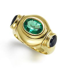 An emerald and sapphire ring, by Bulgari