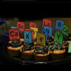 Periodic table of elements cupcake flags. Science party