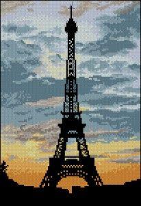 "Free Cross-Stitch Pattern ""La Tour Eiffel"""