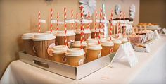 Have a hot chocolate bar at your next holiday baby shower! Via Kara's Party Ideas @HUGGIES Baby Shower Planner Baby Shower Planner