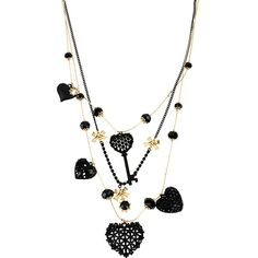 Betsey Johnson Black Hearts Key Heart Illusion Necklace (740 MXN) ❤ liked on Polyvore featuring jewelry, necklaces, black, new arrivals, lobster clasp charms, betsey johnson jewelry, bead necklace, black necklace and illusion necklace