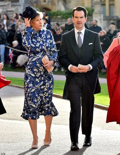 Comedian Jimmy Carr arrives in a three-piece suit with his girlfriend Karoline Copping, in a calf-skimming flowery blue dress Princess Eugenie And Beatrice, Jimmy Carr, Julian Fellowes, Demi Moore, Liv Tyler, Three Piece Suit, Prince William And Kate, Royal Weddings, Beautiful Bride