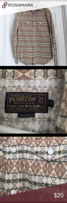 PENDLETON Vintage Men's Shirt Bought on Poshmark a few weeks ago intending for it to be a Xmas gift, but sadly it's too small for my husband. I was really bummed because the pattern is so cool & rare. True vintage that isn't made anymore. I paid $25 plus shipping, selling for $20. Will ship immediately. ATTN: SIZE MEDIUM BUT FITS LIKE A SMALL TO MEDIUM. My husband is between a M-L & it was too tight so fits smaller due to vintage cut style. Pendleton Shirts Casual Button Down Shirts