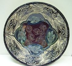 Hand carved ceramic bowl.
