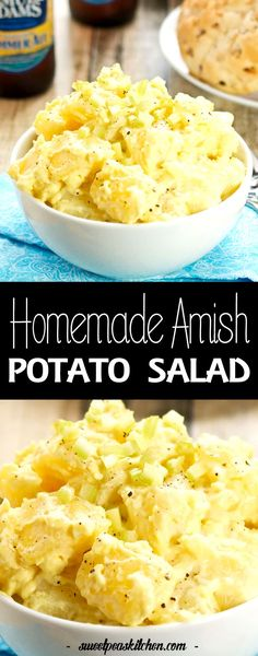 Amish Potato Salad has the perfect combination of mustard, apple cider vinegar, and more. This easy potato salad recipe goes well with everything too! Amish Potato Salads, Homemade Potato Salads, Potato Salad Recipe Easy, Potato Salad With Egg, Easy Salad Recipes, Traditional Potato Salad Recipe, Amish Macaroni Salad, Macaroni And Cheese, Frozen Potatoes