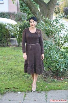 """Платье крючком """"Простота и чистота линий"""" с описанием и схемой - Вязание…"""