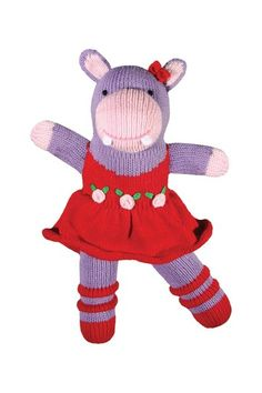 """Honey the Hippo Rattle  - 7"""" by Zubels is absolutely adorable!!"""