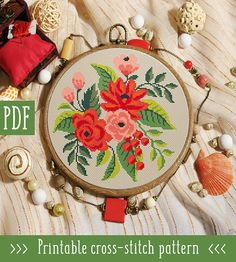 Red Flowers Cross Stitch Pattern This pattern is an instant download PDF. Size: 108w x 110h stitches 14 Count Aida (cream or white): approx. 7.71 x 7.86 inches or 19.59 x 19.96 cm Stitches Required: Full cross stitches Colors Required: 10 DMC floss colors PDF Included: - Pattern in