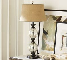 Stacked Mercury Glass Table Lamp Base #potterybarn Zach's house very nice lamps~