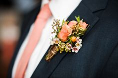 Rustic Coral Rose Boutonniere