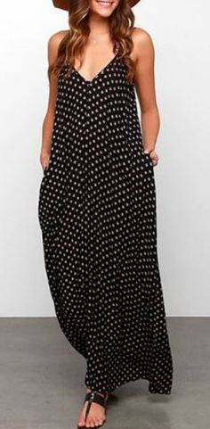 Love Polka Dots! Comfy Casual Black and White Polka Dots Bohemian Style Strappy Polka Dot Maxi Dress
