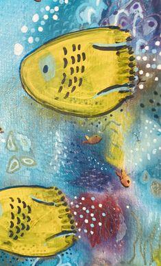 Vibrant mixed media artwork by Australian artist Anna Just Mixed Media Artwork, Mixed Media Artists, Mixed Media Painting, Silk Painting, Australian Artists, Tropical Fish, Art Forms, Vibrant, Anna