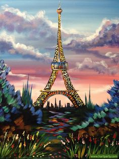 Eiffel Tower with Pin Sky and flowers painting By Cinnamon Cooney The Art Sherpa as a Fully guided art lesson for Hart Party on youtube. Free online home painting party www.youtube.com/... #artlesson #theartsherpa #hartparty #easyart #paintingparty #art #diy