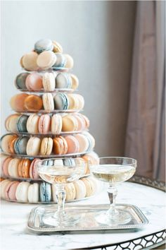 pastel colored macaron tower http://goo.gl/F20j0t | Image by Anna Grinets Photography at Sylvie Gil Workshop