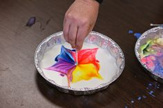 Making Colors Dance-Fun Science experiment with milk, food coloring, and dawn soap. You can even make prints but placing an index card over the substance. Great fine motor activity!