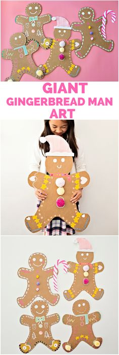 Giant Cardboard Gingerbread Man Art Christmas decoration craft for kids Christmas Art Projects, Christmas Arts And Crafts, Holiday Crafts For Kids, Preschool Christmas, Christmas Activities, Xmas Crafts, Kids Christmas, Craft Projects, Fish Crafts