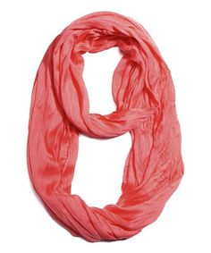 This Peach Silk-Blend Infinity Scarf by Look By M is perfect! #zulilyfinds