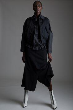 Vintage Issey Miyake Parachute Jacket, Comme des Garçons nylon vest and wide leg cropped pants. Designer Clothing Dark Minimal Street Style Fashion