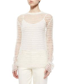 Helmut Lang Hand-Knit Open Crochet Sweater, Off White Aztec Print Shorts, 2016 Fashion Trends, Poncho Sweater, Helmut Lang, Crochet Lace, Sweaters For Women, Women's Sweaters, Hand Knitting, Long Sleeve Tops