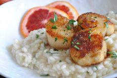 Blood Orange Kissed Sea Scallops over Champagne Risotto | Mediterranean Baby Family Food Blog - The perfect meal for Valentine's Day!!!