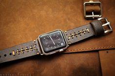 Béisbol de correa cuero Vintage costura incl. adaptador de terminales para reloj de Apple (o Apple Watch Sport) 42mm o 38mm